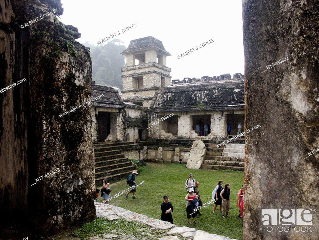 Stock Photo: The Palace in Palenque, Maya archeological site (600 - 800 A.D.). Chiapas, Mexico.