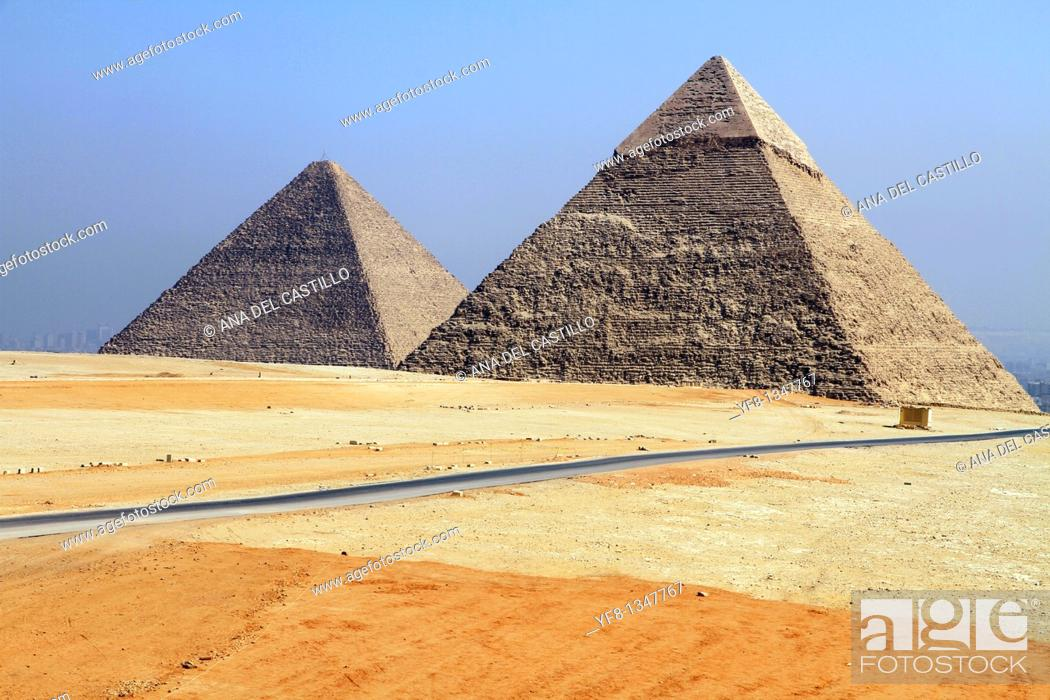Stock Photo: Pyramids of Giza Egypt.