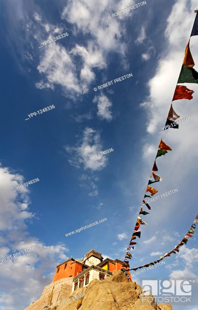Stock Photo: Tsemo Gompa and the Victory Fort build on a rocky ridge abve Leh, Ladakh, India.