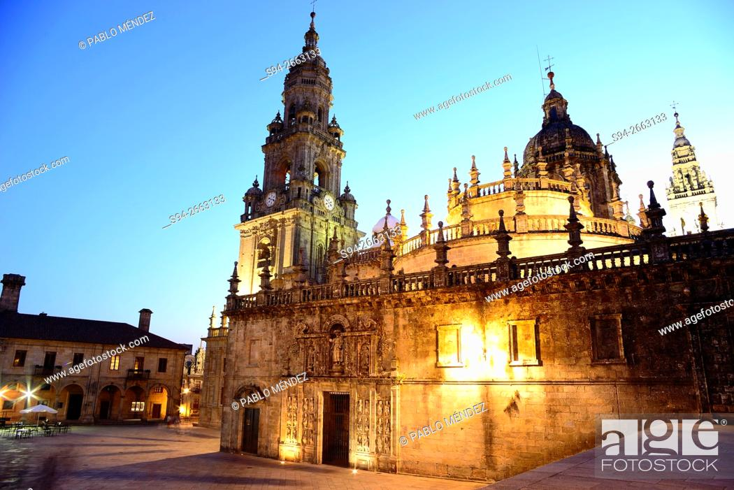 Stock Photo: View of the cathedral from Quintana de Vivos square in Santiago de Compostela, Galicia, Spain.