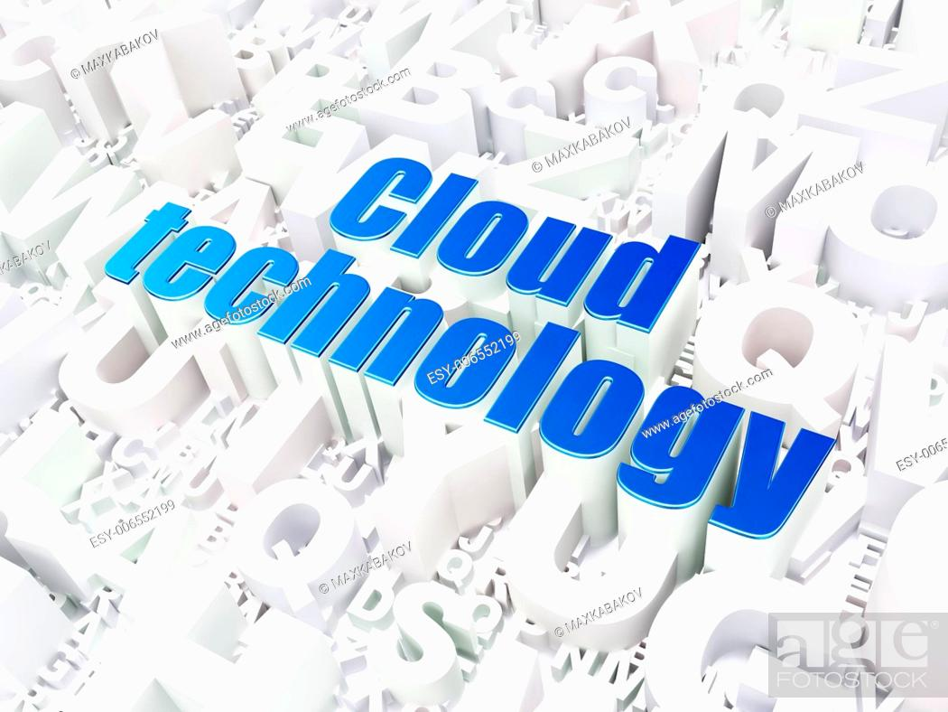 Stock Photo: Cloud computing technology, networking concept: Cloud Technology on alphabet background, 3d render.