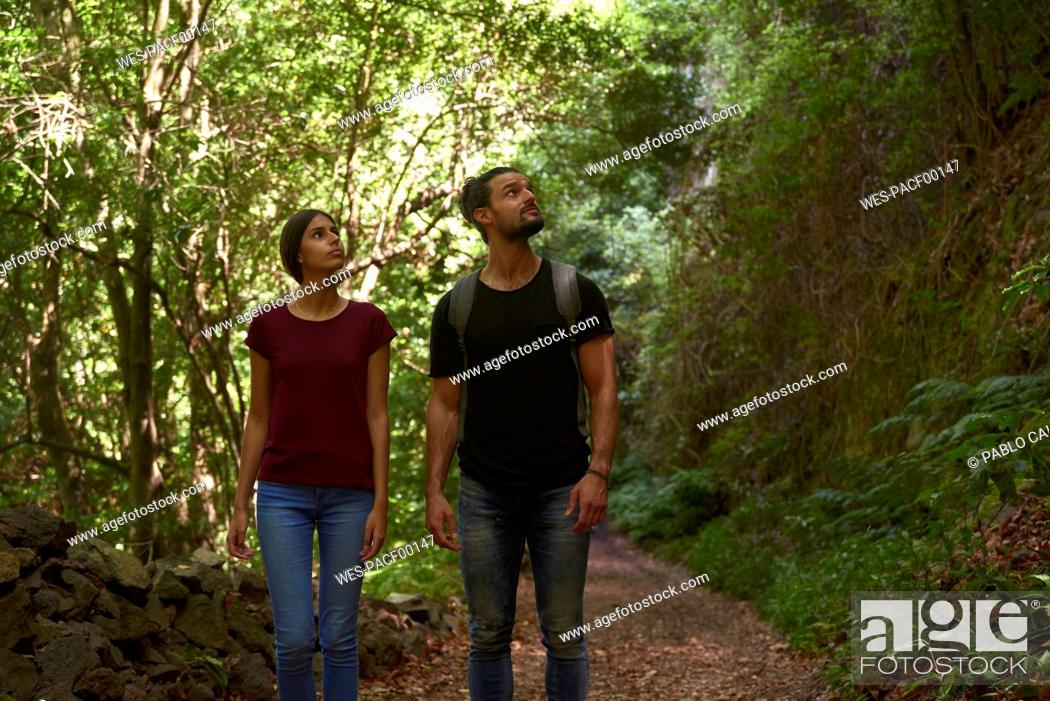 Photo de stock: Spain, Canary Islands, La Palma, couple walking through a forest looking around.