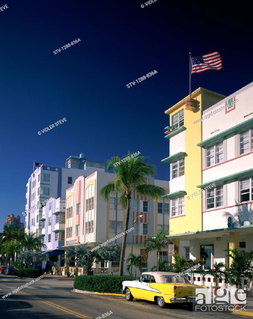 Stock Photo: America, Art deco, Car, Flag, Florida, Holiday, Hotels, Landmark, Miami, Miami beach, Ocean drive, Road, Street, Tourism, Travel.