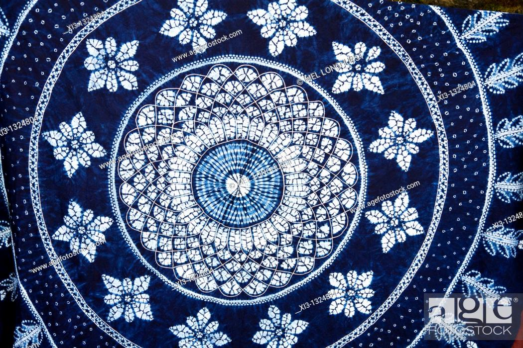 Stock Photo: Colourful blue and white tie dyed tablecloth, Baisha, Yunnan Province, China.
