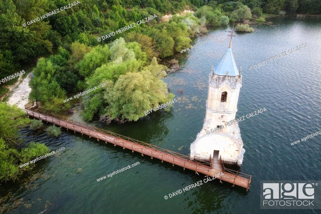 Stock Photo: Aerial view of The fish cathedral. Sunken church ruins located in the Ebro reservoir in Cantabria, in the north of Spain. High quality photo.