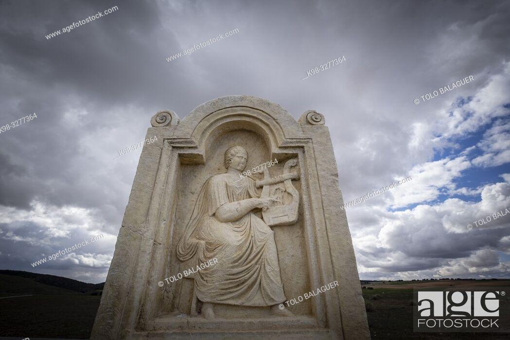 Stock Photo: estela de Lucunda, parque arqueológico de Segóbriga, Saelices, Cuenca, Castilla-La Mancha, Spain.