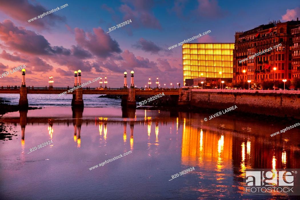 Stock Photo: Urumea river mouth, Zurriola bridge, Kursaal, Donostia, San Sebastian, Basque Country, Spain,.
