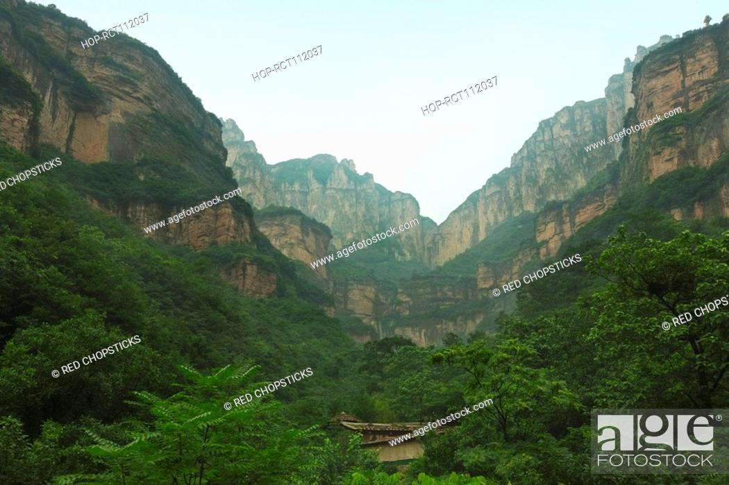 Stock Photo: Trees in a canyon, Taihang Grand Canyon, Linzhou, Henan Province, China.