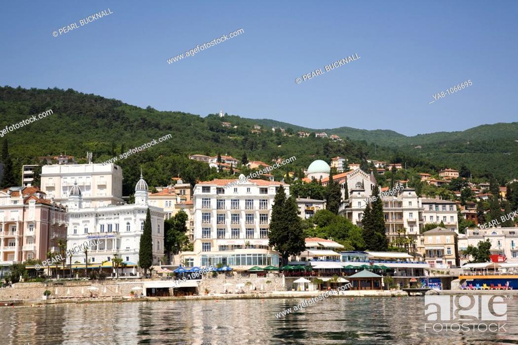 Stock Photo: Opatija Istria Croatia Europe  Offshore panorama of waterfront buildings in fashionable seaside resort on Kvarner Gulf coast in Adriatic sea.