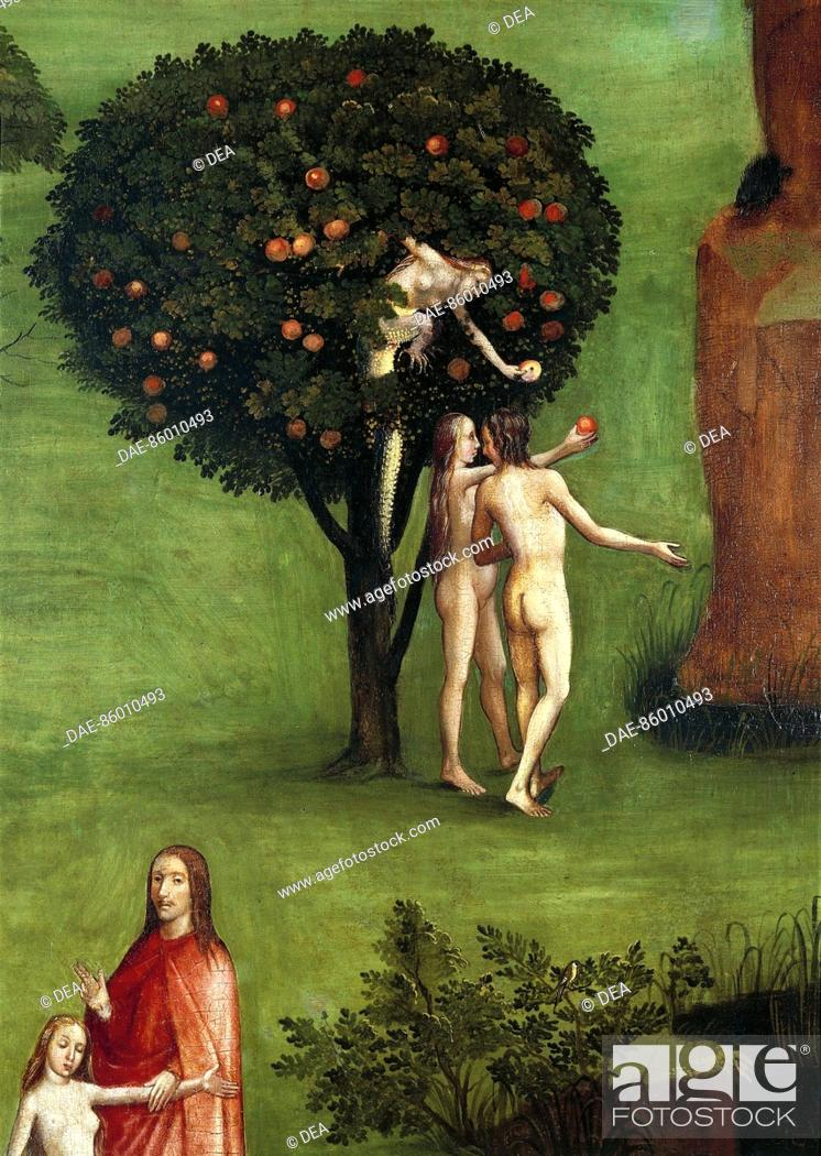 Stock Photo: Hieronymus Bosch (1450-1516), Triptych of the Judgement, central panel: The Last Judgement. Detail: Adam and Eve receiving the Apple from the Snake, 1504.