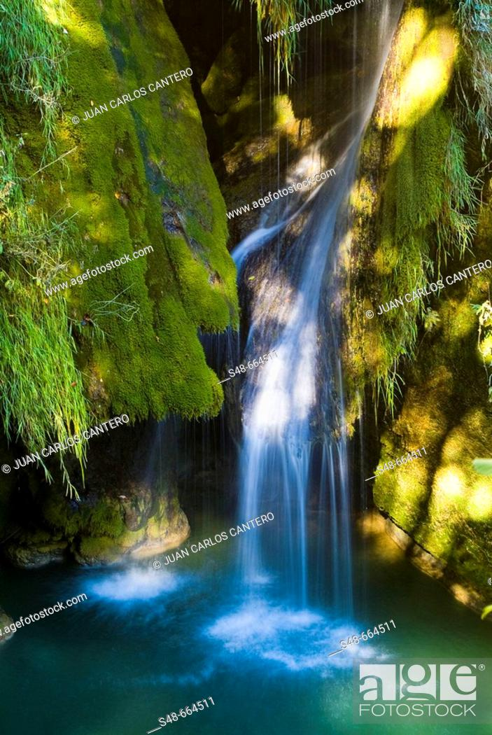 Stock Photo: River Urederra in Urbasa Natural Park. Navarre. Spain.