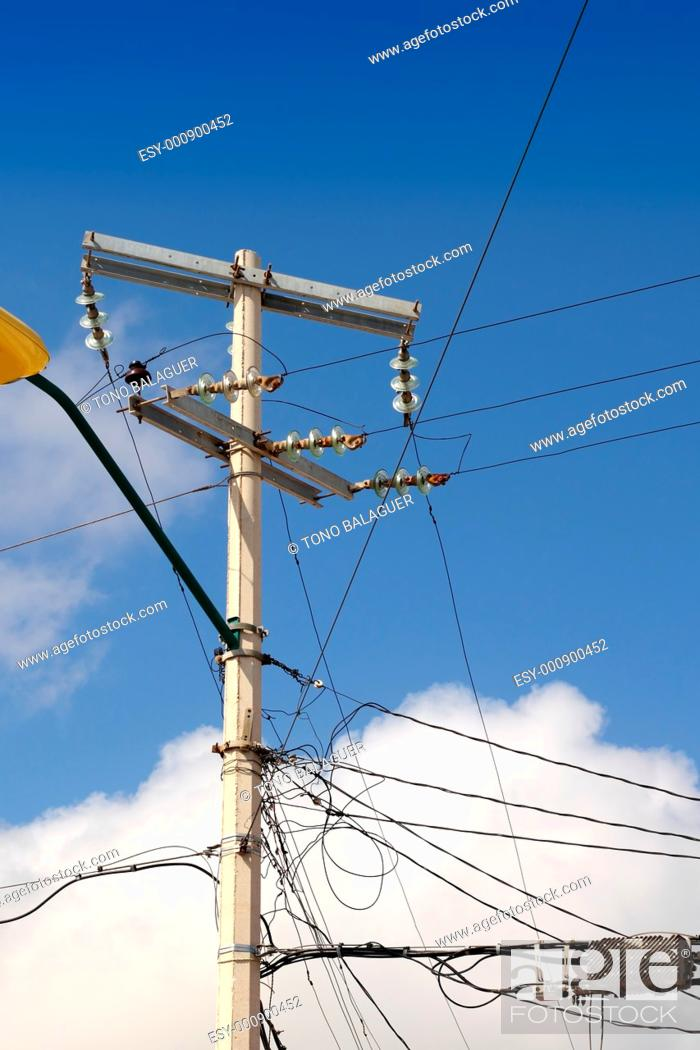 Electric Tower Messy Electrical Wiring Installation In Mexico Stock Photo Picture And Low Budget Royalty Free Image Pic Esy 000900452 Agefotostock