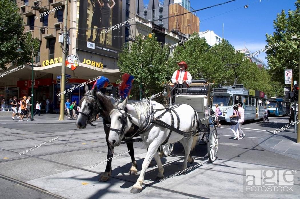 Stock Photo: Swanston Street, Melbourne, Australia.