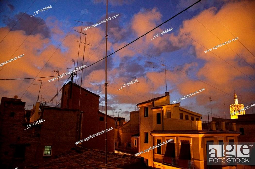 Stock Photo: Night view of roof tops in Valencia Spain.