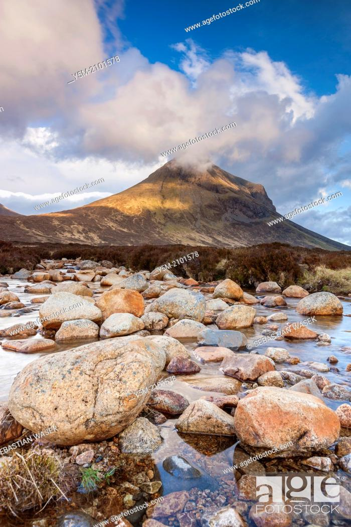 Stock Photo: River Allt na Measarroch with Marsco in the background, Glen Sligachan in the Cuilin Hills, Isle of Skye, Inner Hebrides, Scotland, UK, Europe.