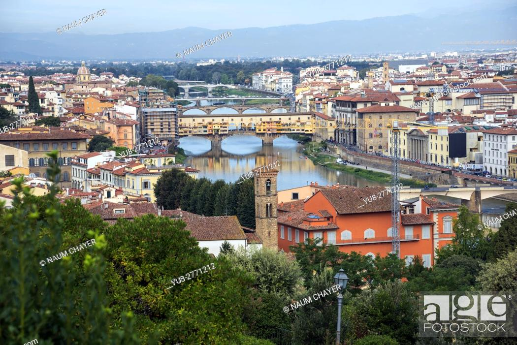 Stock Photo: Panorama of Florence with Ponte Vecchio Medieval arch bridge over the Arno, capital of Tuscany region, Italy.