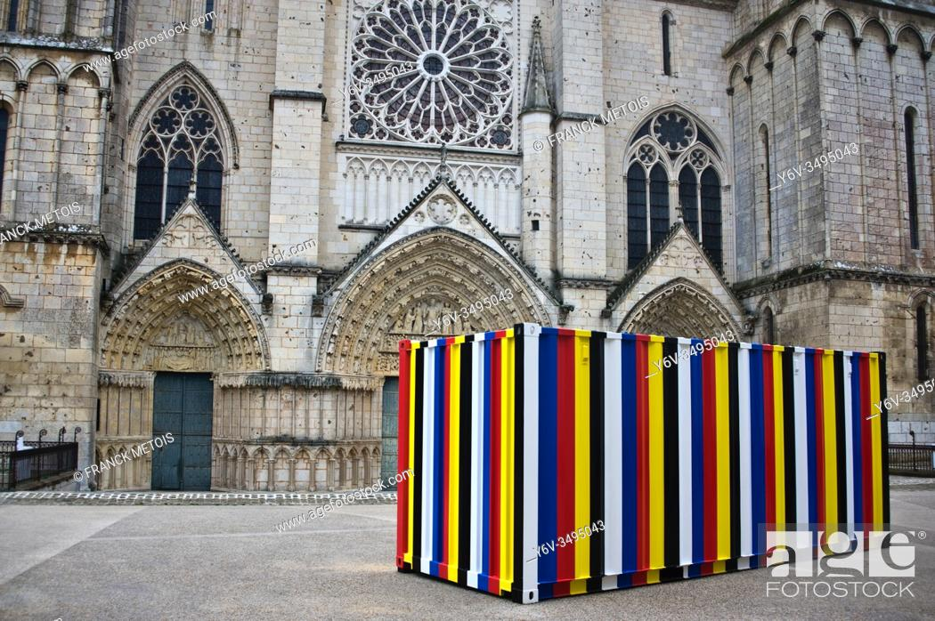 "Stock Photo: """"""""""Bottari 1999-2019"""", a 20 feet shipping container containing the artist's personal belongings by Kimsooja ( Saint Pierre cathedral at Poitiers, France)."