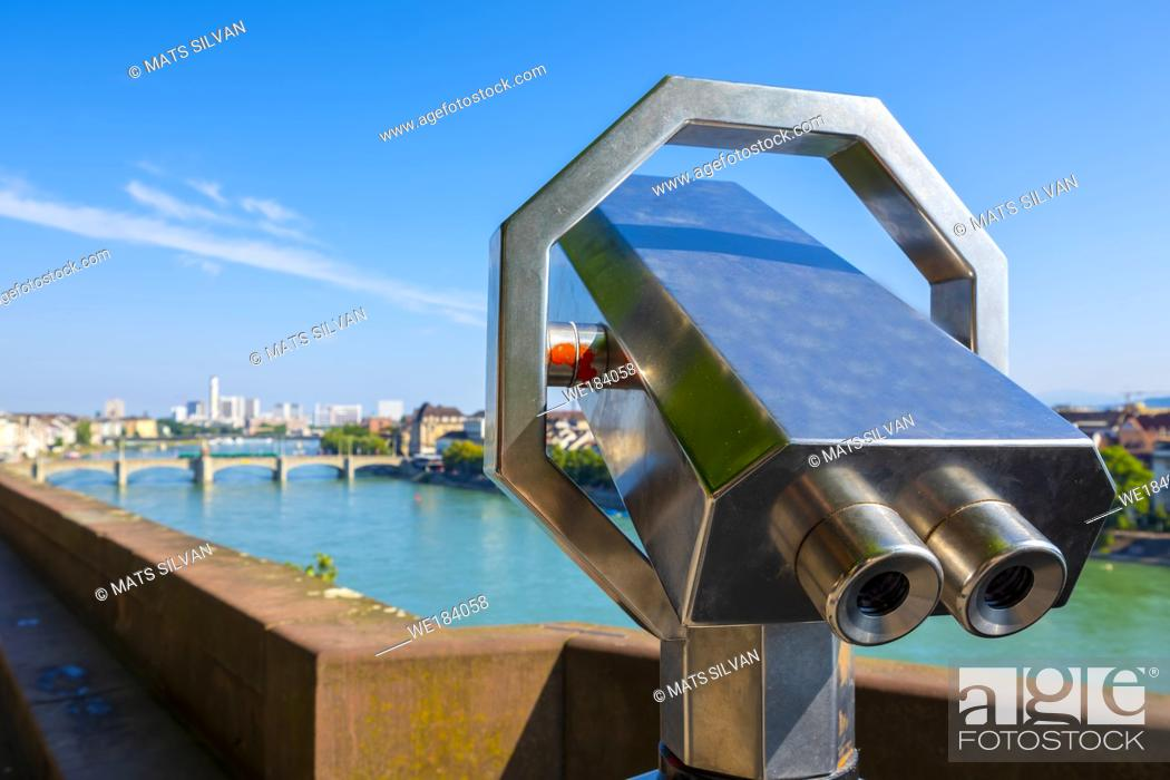Stock Photo: Telescope over Rhine River and City of Basel in a Sunny Day in Switzerland.
