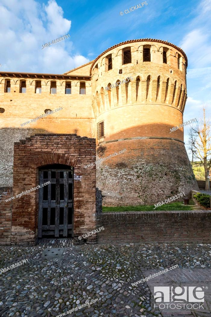 Stock Photo: Dozza, Bologna, Emilia Romagna, Italy, Europe, The tower of a medieval fortress,.