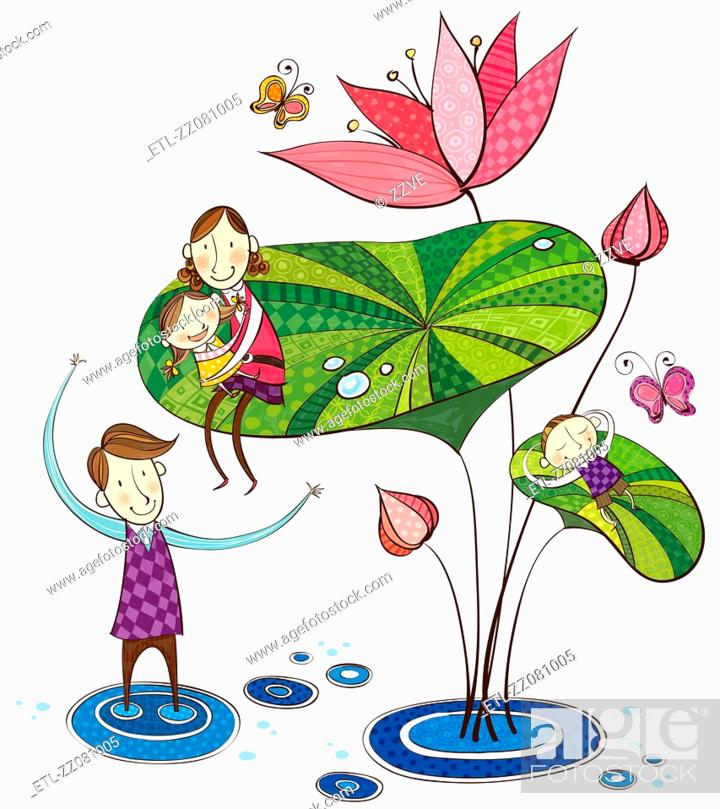 Stock Photo: family playing with lotus flower.