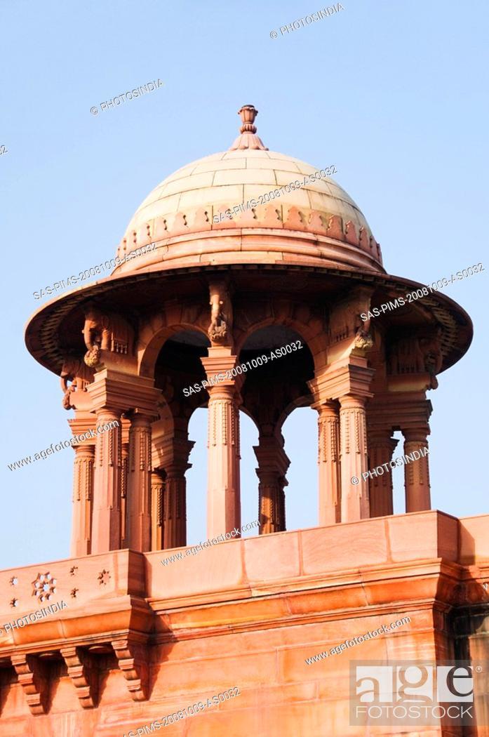 Stock Photo: High section view of a government building, Rashtrapati Bhavan, New Delhi, India.