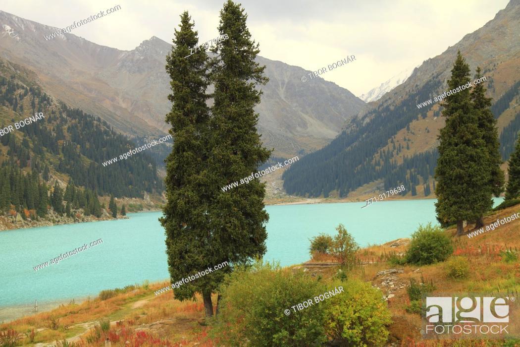 Stock Photo: Kazakhstan; Ile-Alatau National Park, Big Almaty Lake, .