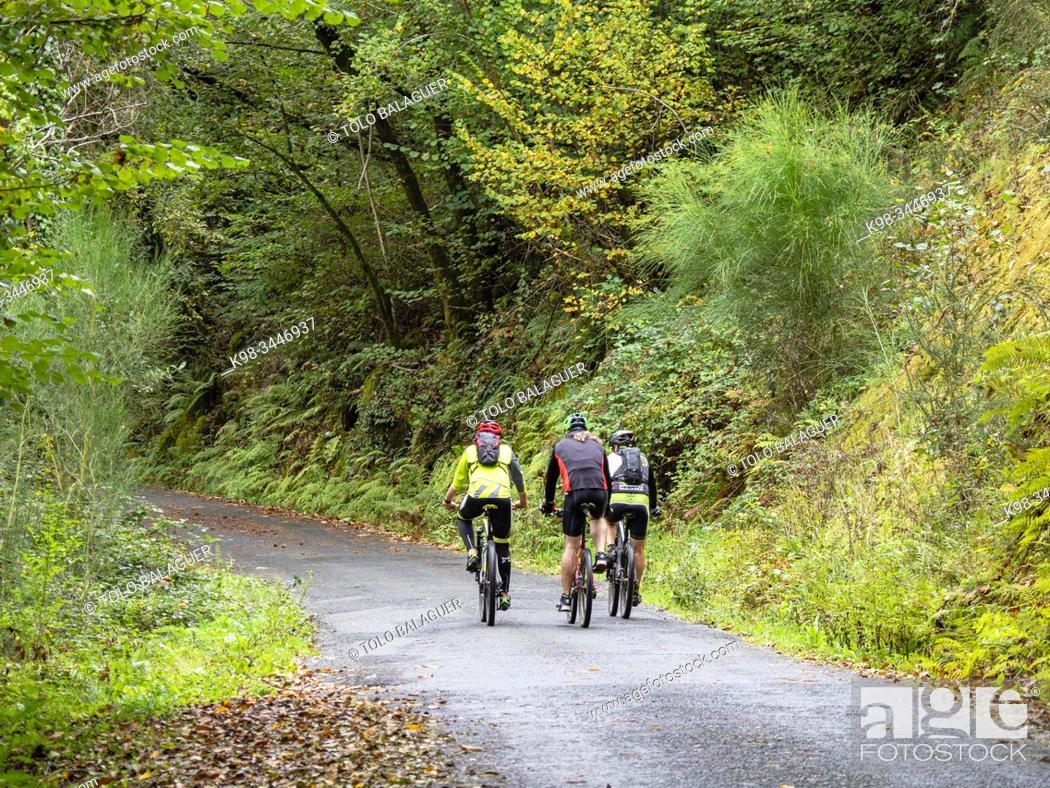 Stock Photo: ciclistas, parque natural Fragas del Eume, â. ‹ provincia de La Coruña, Galicia, Spain.