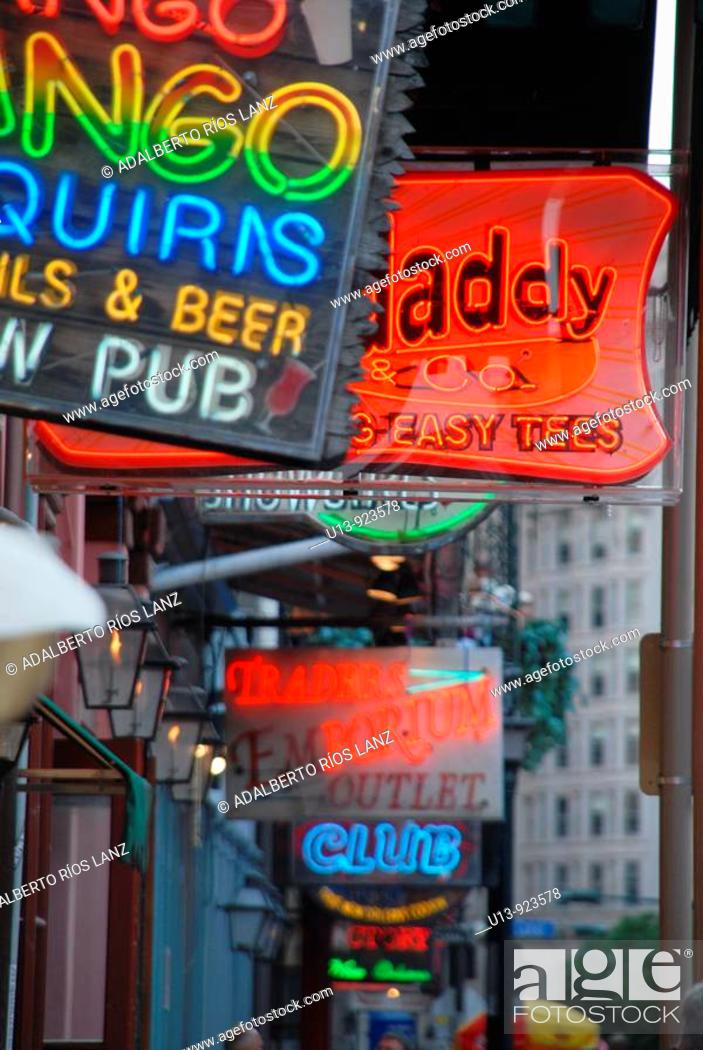 Stock Photo: Neon Bar Sign at Bourbon Street, French Quarter, New Orleans, Louisiana, United States.
