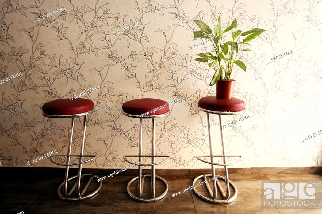 Stock Photo: stools in a restaurant.