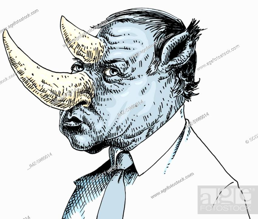 Stock Photo: An illustration of a businessman with a head like that of a rhinoceros.