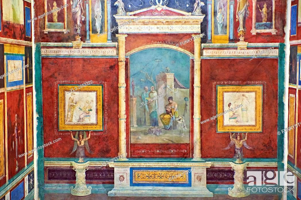 Stock Photo: Roman fresco wall decorations of Bedroom B of the Villa Farnesia, Rome. Museo Nazionale Romano ( National Roman Museum), Rome, Italy. .