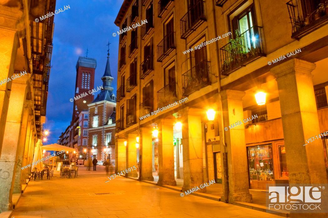 Stock Photo: Gerona street, night view. Madrid, Spain.