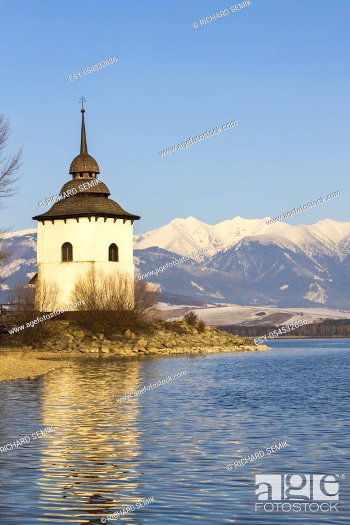 Stock Photo: Church of Virgin Mary in Havranok and lake Liptovska Mara, district Liptovsky Mikulas, Slovakia.