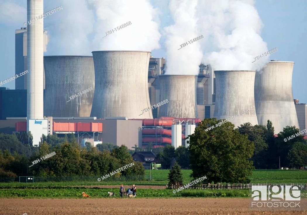 Stock Photo: View of Niederaussem coal fired power station in Bergheim district of Nordrhine Westfalia in Germany.