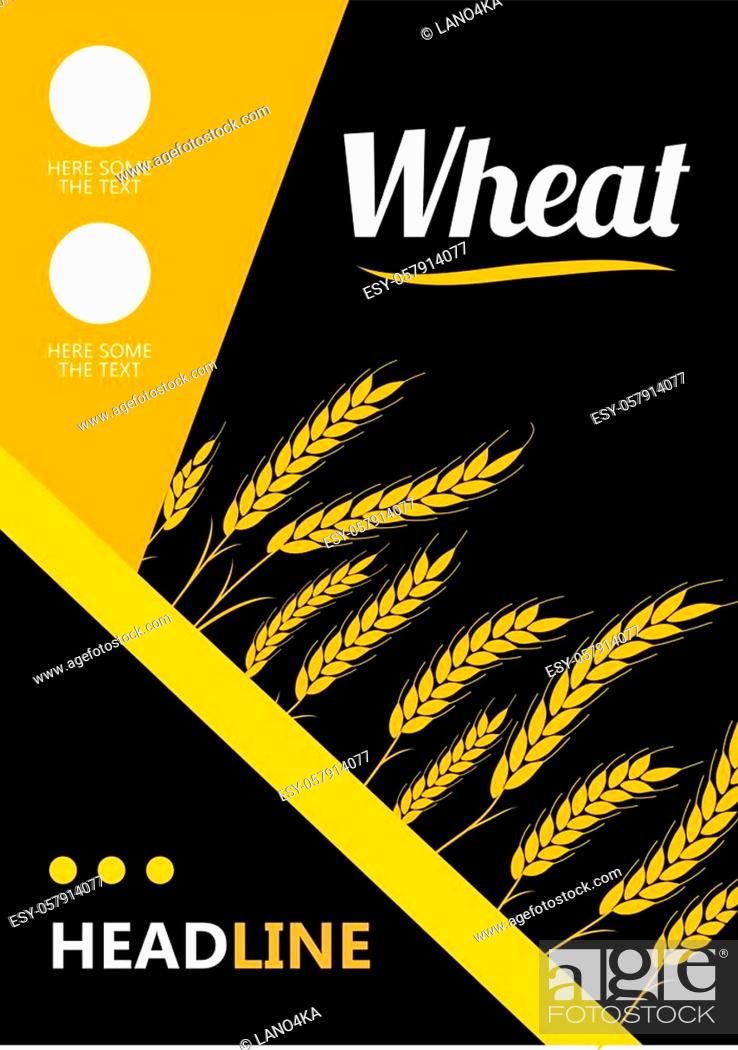 Stock Vector: Design headline Gold Wheat Ears on black background. For Natural Product Company. Organic wheat, bread agriculture.