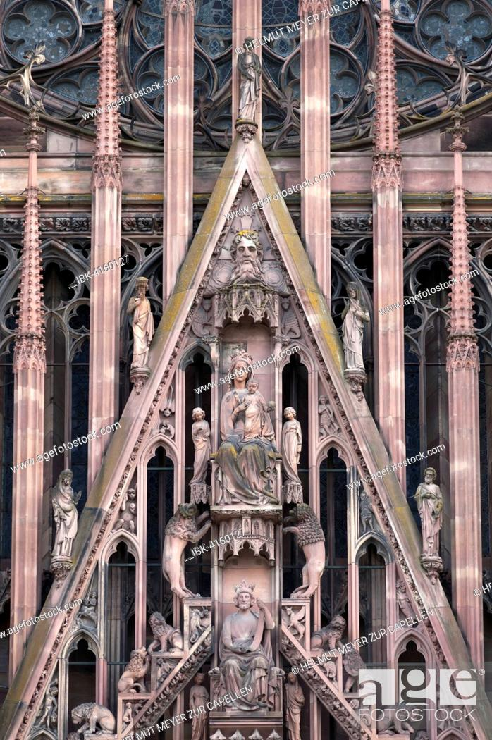Stock Photo: Detail above the entrance portal of the Strasbourg Cathedral, Strasbourg, Alsace, France.