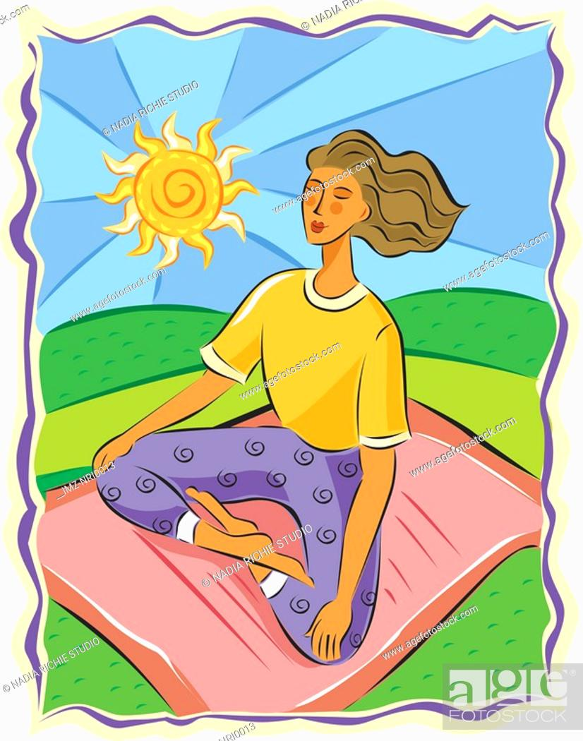 Stock Photo: Woman sitting in a yoga position while meditating.