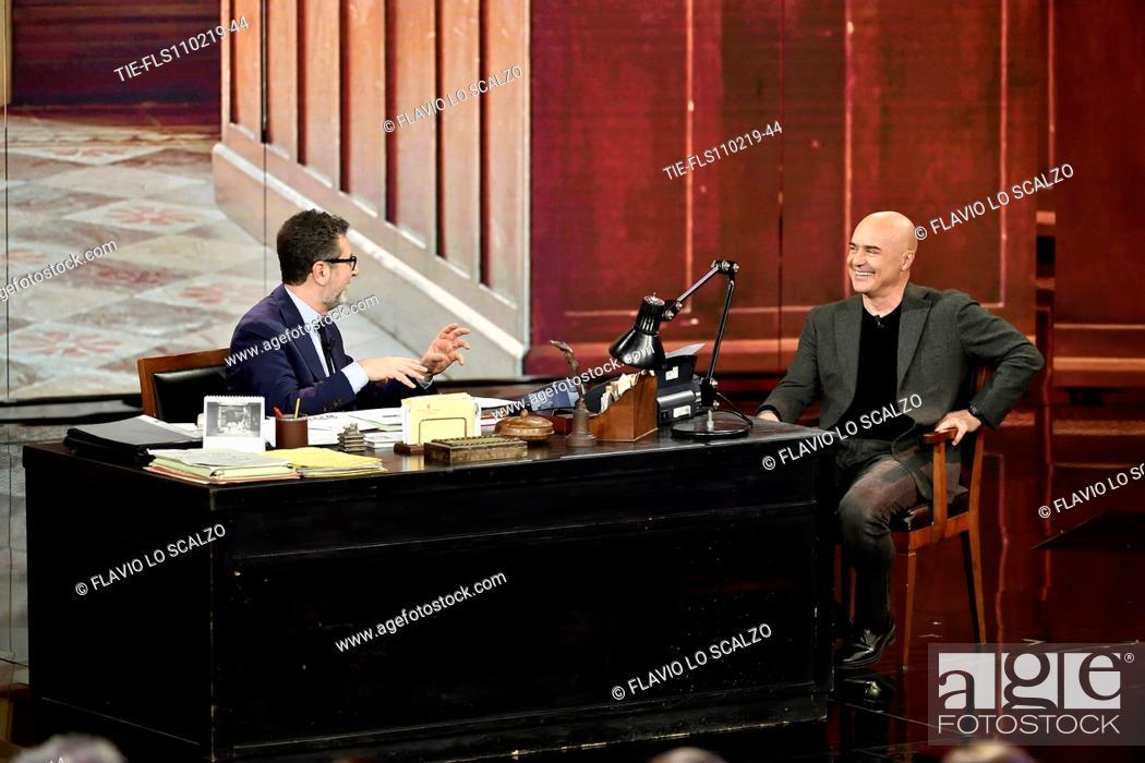 Imagen: Tv presenter Fabio Fazio, actor Luca Zingaretti during the tv show Che tempo che fa, Milan, ITALY-10-02-2019.