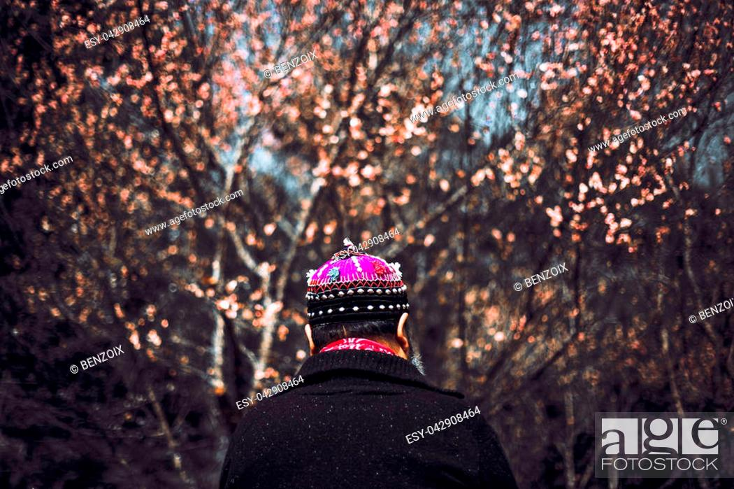 Stock Photo: The man wearing tribal dress in front of cherry blossom, Asian tribe in Asia from Thailand.