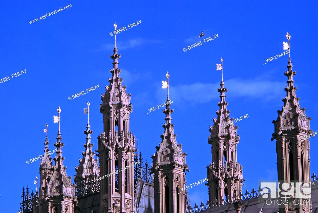 Stock Photo: Weathervanes on the Houses of Parliament on a sunny Summer day in Westminster, London, England.