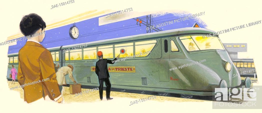 Conductor and passengers in front of a train, drawing, Stock