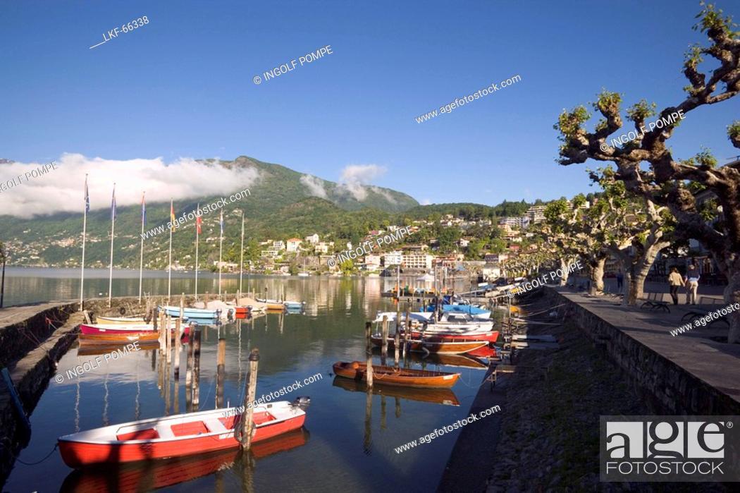 Stock Photo: Harbour at Lake Maggiore, Ascona, Ticino, Switzerland.