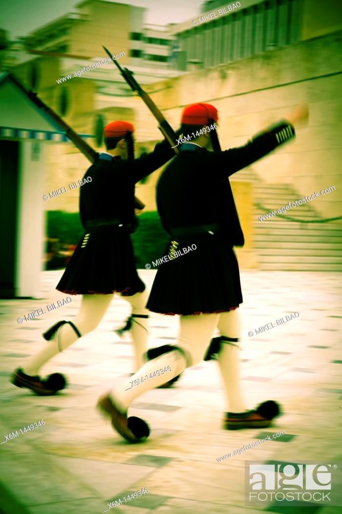 Stock Photo: Evzones changing the guard Tomb of the Unknown Soldier Athens, Greece , Europe.