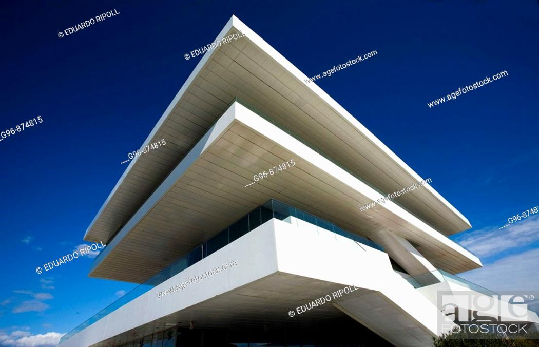 Stock Photo: Veles i Vents building (aka Foredeck building) by David Chipperfield, 32nd America's Cup Permanent Pavillion, Valencia. Comunidad Valenciana, Spain.