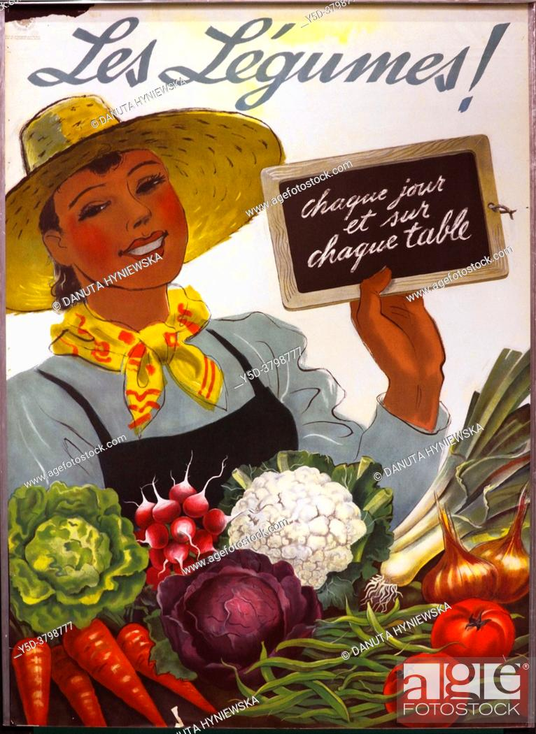 Imagen: Dietary advice that still lasts, anonymous poster from 1941 promoting eating healthy vegetables with slogan - 'Les légumes ! Chaque jour et sur chaque table' -.