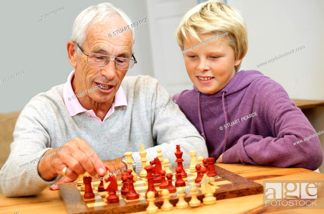 Stock Photo: Senior man and grandson.