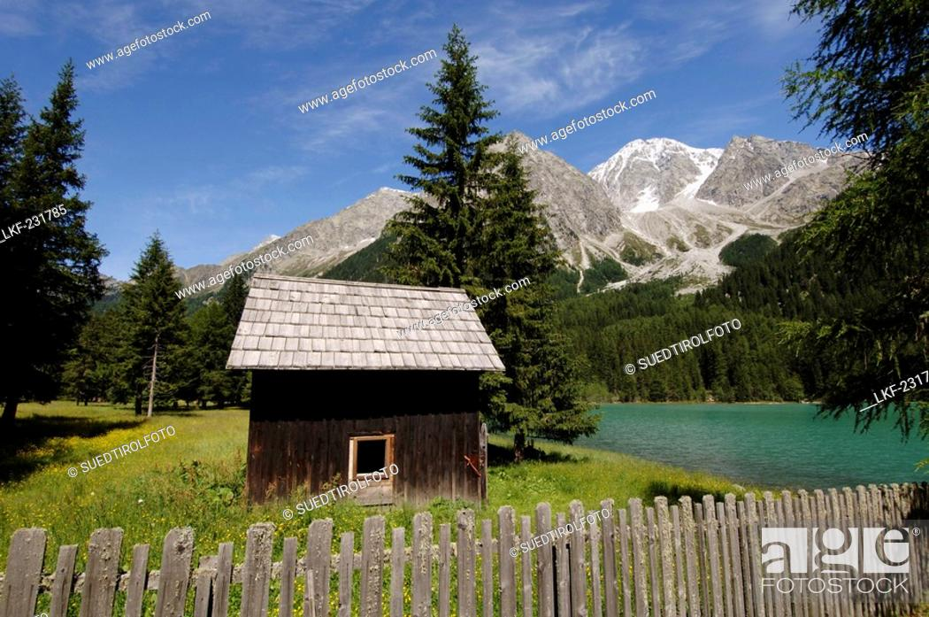 Stock Photo: Cabin and wooden fence at the Antholzer lake in idyllic mountain scenery in the sunlight, Val Pusteria, South Tyrol, Italy, Europe.