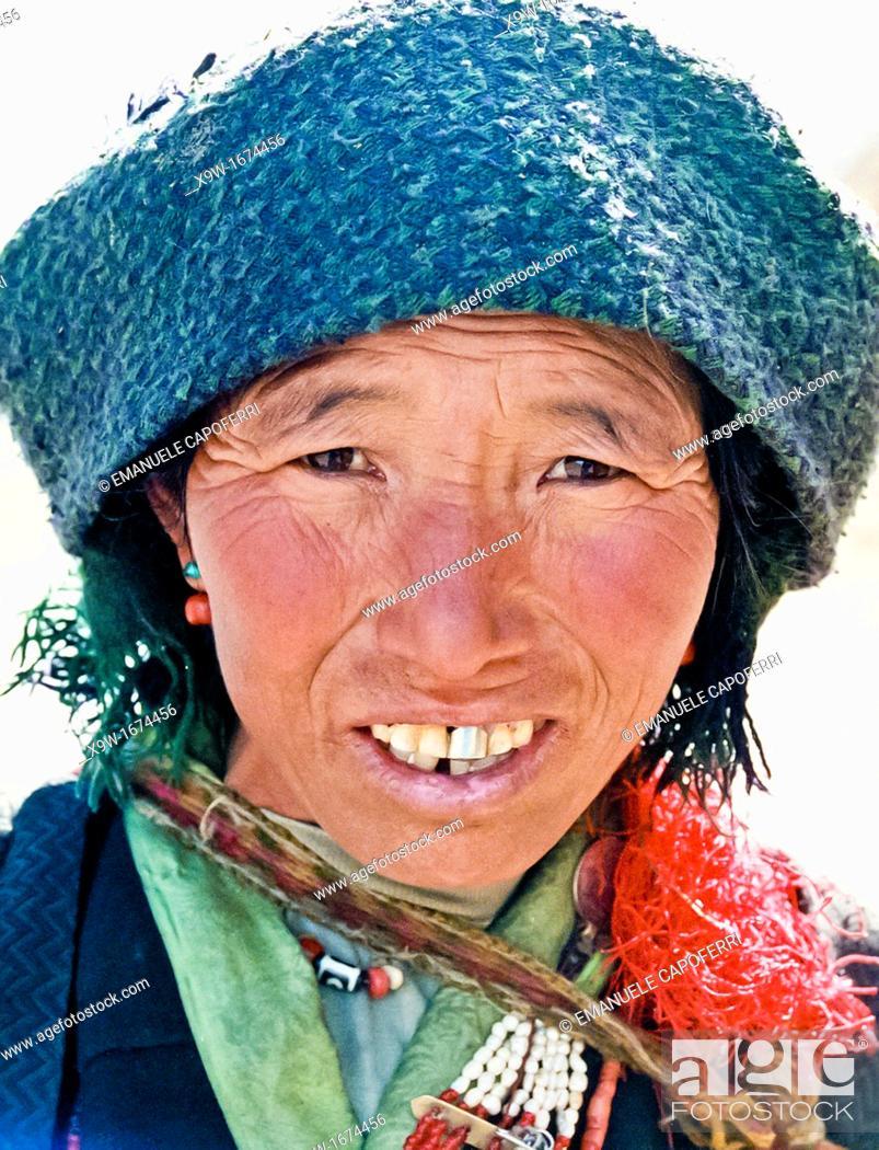 Stock Photo: portrait of tibetan woman.