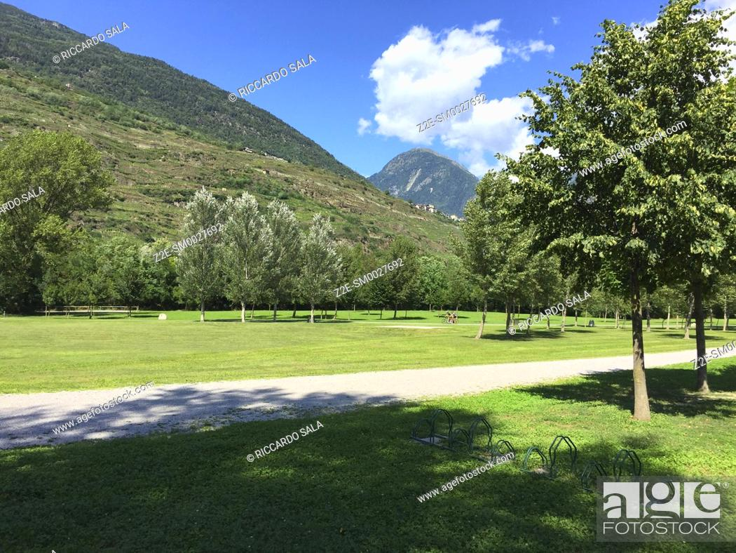 Stock Photo: Italy, Lombardy, Valtellina, Sondrio, Parco Adda Mallero Renato Bartesaghi, Public Garden. .