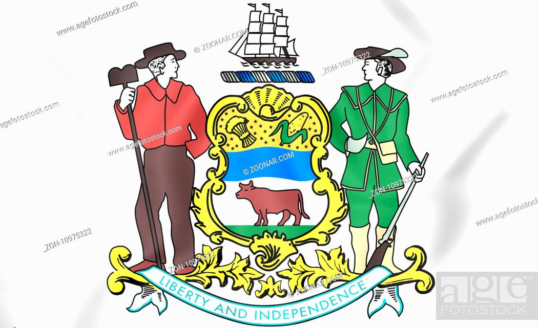 Stock Photo: Delaware coat of arms, USA. 3D Illustration.